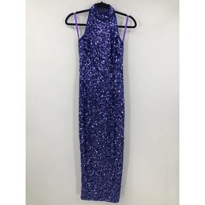 Lillie Rubin Column Gown Beaded Sequin Halter Silk
